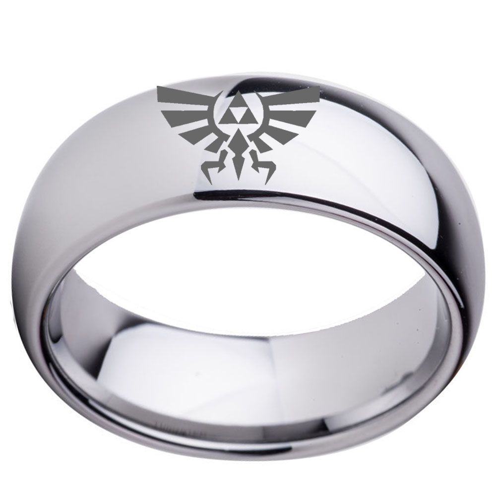 Custom Tungsten Wedding Ring 8mm Silver Dome Legend Of Zelda Design Lasered  Cool Jewelry For Boy