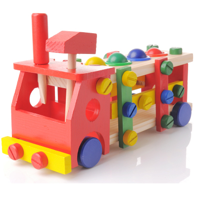 Children's wooden changed screw nut assembles toy wooden blocks puzzle/loading
