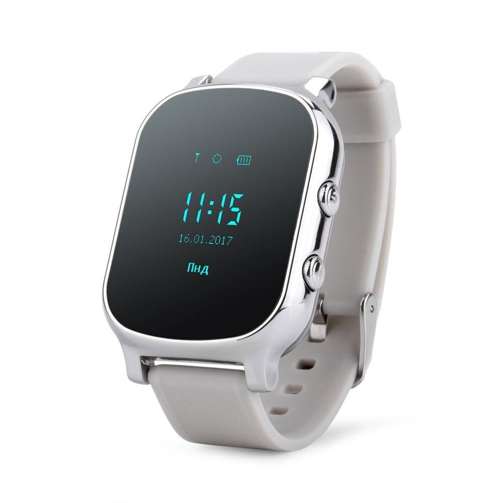 OLED Precisas Crianças GPS Rastreador GSM Para Crianças Garoto SIM SOS Telefone Do relógio Inteligente pulseira Inteligente T58 Crianças Watchs para iOS Android