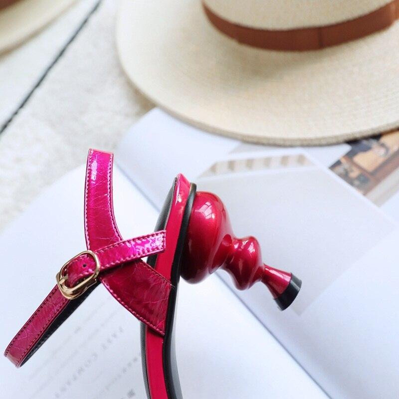 Cuero Clásico Extraño Correa Verano Conciso De Sandalias red Tobillo Genuino Las Fiesta Mujeres Blue Calidad Alto Estilo Zapatos Tacón Hebilla XwB7qXvx