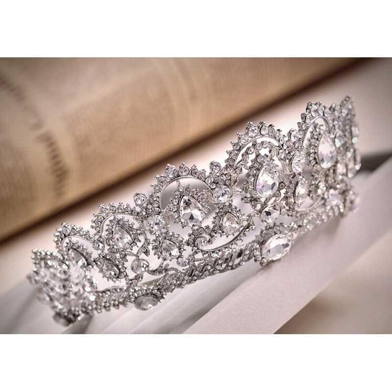 New Wedding Hair Accessories Queen for Bride Rhinestone Korean Bridal Tiara Headband Hair Jewelry Weedding Headdress BS