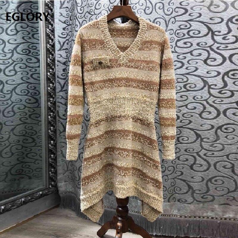 Haute qualité pull robe 2019 printemps Style femmes col en v fil d'or à tricoter à manches longues asymétrique tenue décontractée pull