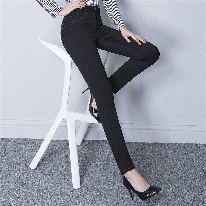 2019 Spring Skinny Pencil Jeans For Women Summer New High Waist Pencil Strech Denim Ankle Length Pants Tassel Jeans Free Ship