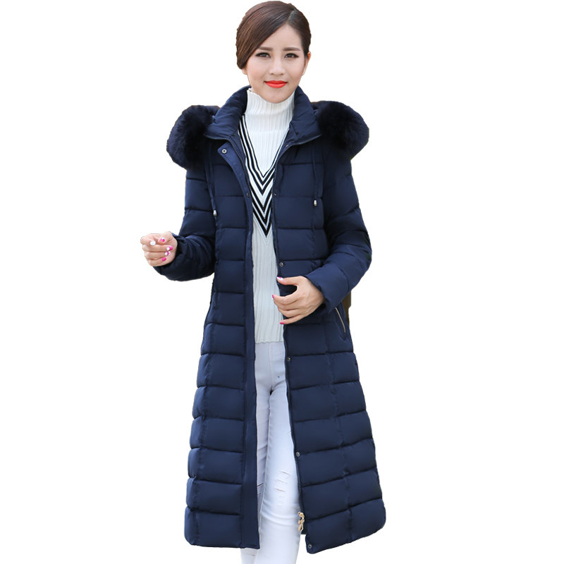 Plus Size 6XL Winter Jacket Women Middle-Age Down Cotton Coat Thick Larger Fur Collar Cotton Outerwear   Parka   Wadded Jacket C3697
