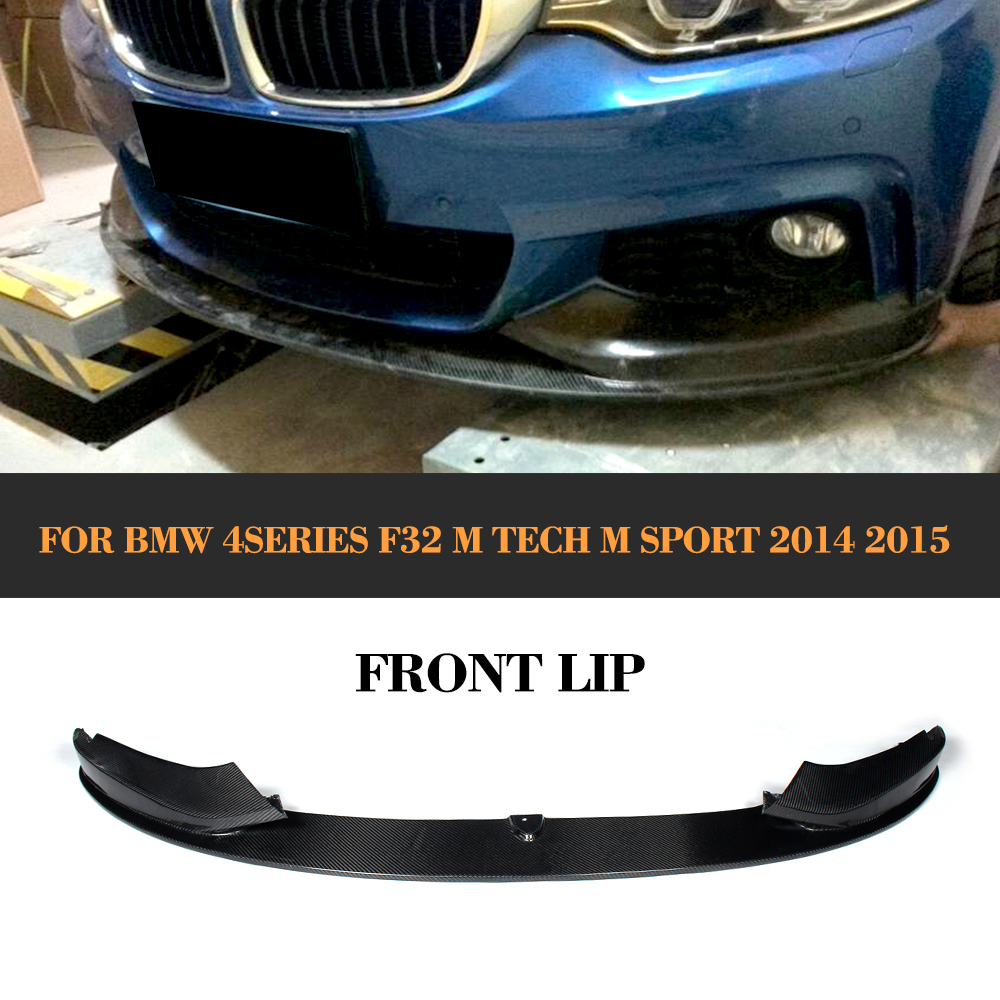 4 Series carbon fiber Car Front Lip Spoiler for BMW F32 M Sport bumper Only 2014 2015 435i Black FRP carbon fiber auto front lip splitter flags for bmw 4 series f32 f33 435i m sport coupe & convertible 2 door 2014 2016