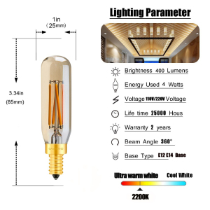 Image 2 - Ganriland Amber Glass T25/T8 Tubular Lamp Led Bulb 4w 2200k Retro LED Filament E12 E14 Light Bulb Dimmable Decorative Chandelier