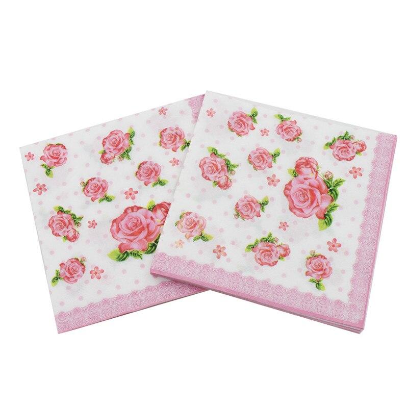 Beverage Paper Napkins Rose Fresh Pink Event & Party Cafe Tissue Napkins Decoration Serviettes 33cm*33cm 20pcs/pack/lot
