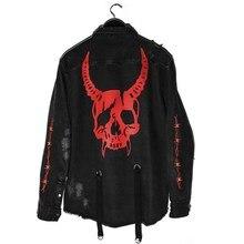 Harajuku Gothic Demon Hunter Skull Black Denim Jacket Men Rock Punk Heavy Metal Sweatshirt Sudadera Suspenders Hole Streetwear