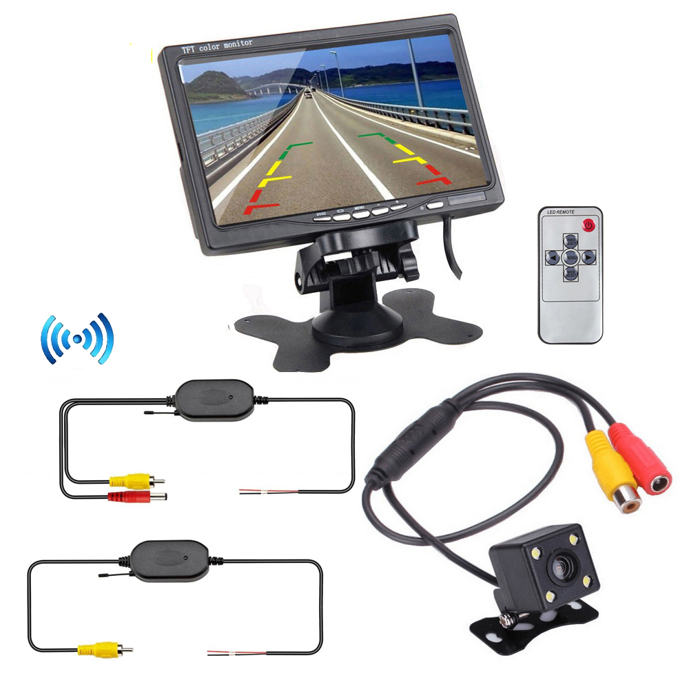 ФОТО Free Shipping 7 inch Car Monitor with Wireless Parking Assistance System 2 in 1 170 Degrees Mini Car Rear View Back up Camera