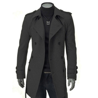Winter Men's Jackets Faux Wool Trench Cardigan Business Clothes Slim Fit Double Breasted Belted Long Coat Windbreaker Outwear
