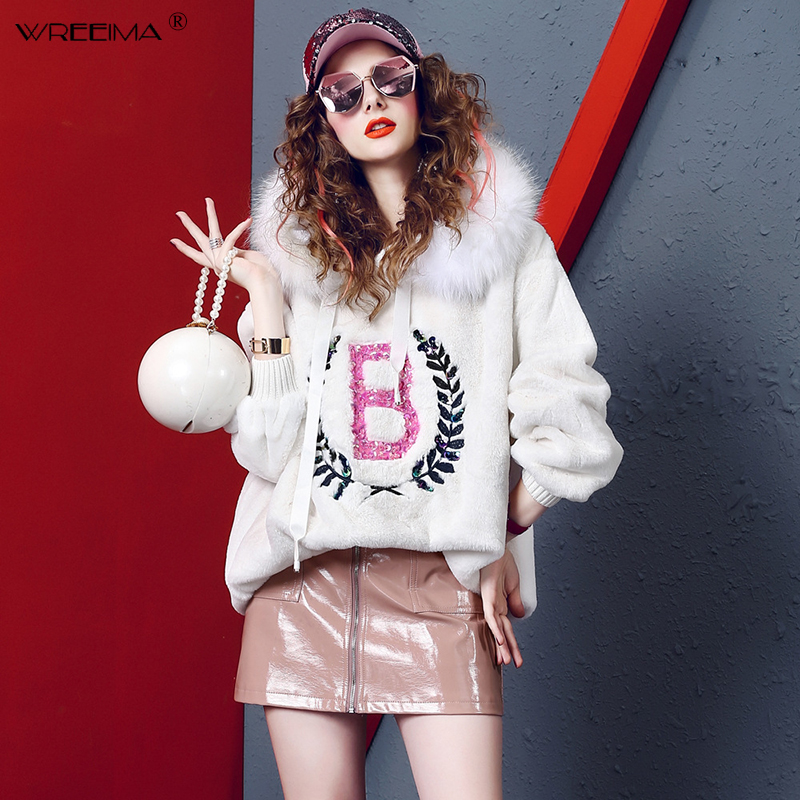 wreeima Women High Street Letter Embroidery Hoodies Fashion Fur Collar Hooded Sweatshirts Plus Size Loose Long Pullovers Tops