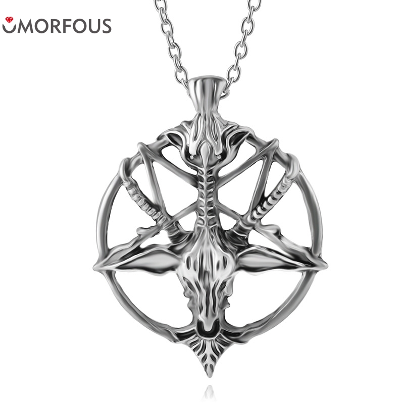 Fashion inverted pentagram goat pan god skull head pendant fashion inverted pentagram goat pan god skull head pendant necklace satanism occult metal vintage silver star statement jewelry aloadofball