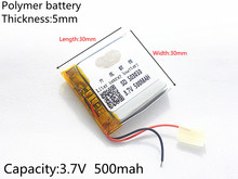 3.7V 500mAh battery 503030 Lithium Polymer Rechargeable Battery Li Po li ion For Mp3 DVD Camera GPS PSP bluetooth electronics