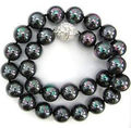 Charming!10mm Black shell pearl necklace 18 inches magnet button DIY women fashion beautiful jewelry making design