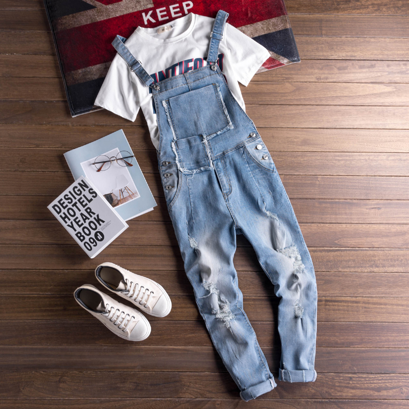 Fashion Summer Cargo Jeans For Men Japan Euro Style Man Casual Ripped Jeans Overalls Bib Pants Male Blue Denim Jumpsuits Rompers