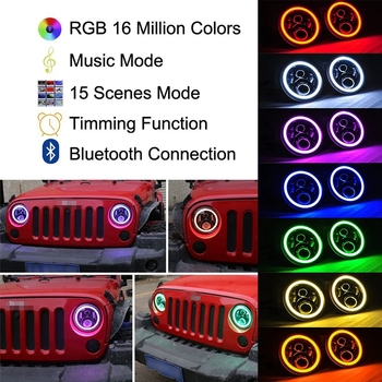 2PC/Pair 7 Inch RGB 60W Round LED Car Light Souce Angel Eyes Halo Ring Auto Headlight Kit For Jeep Wrangler JK CJ
