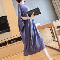 Large size hollow blouse skirt 2019 summer new women's fashion loose long ice silk knit dress