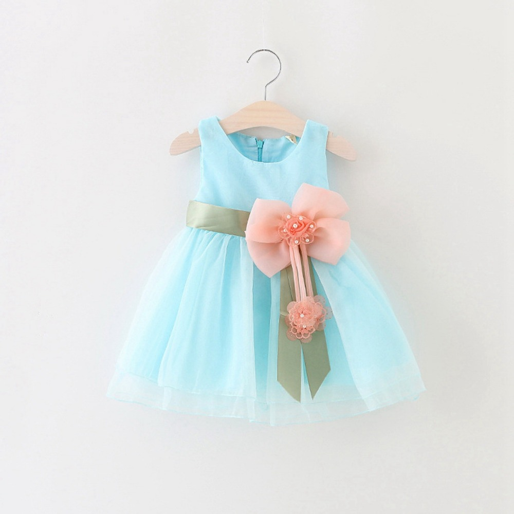 Spring Summer Sleeveless Beaded Bow baby Party Birthday girls kids ...