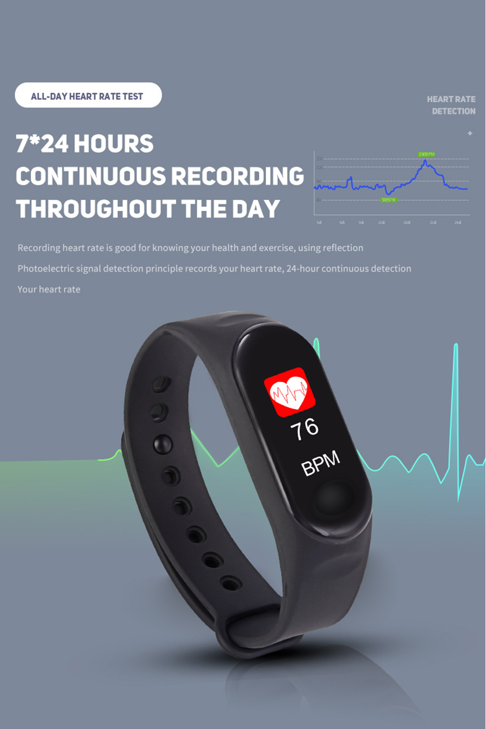 Doolnng M3 Plus Sport Fitness tracker Watch Smartband Smart Bracelet Blood Pressure Heart Rate Monitor Smart band Wristband Men