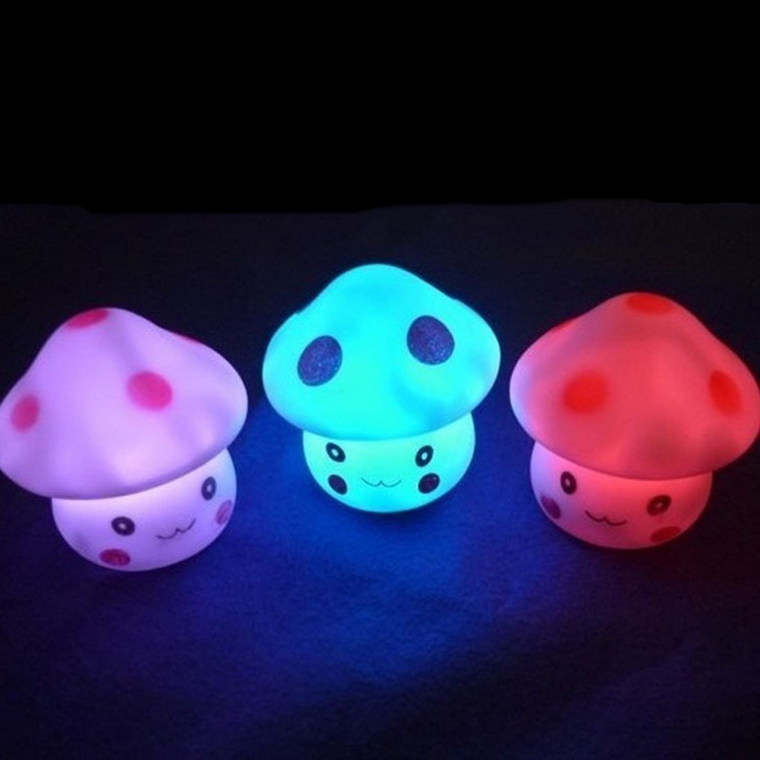 LED Night Light Colorful Mushroom Press Down Touch Room Desk Bedside Lamp for Baby Kids Christmas Gifts