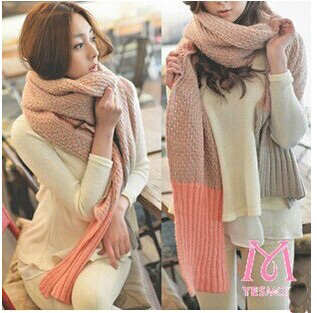 Winter Warm New Thicken Knitted Wool Infinity Scarf  Super Long Woman Pure Color Pashmina  4 Colors