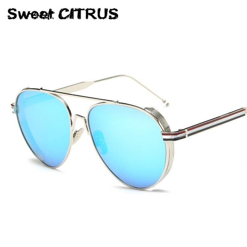 Fashion Pilot Steam Punk Sunglasses Men Brand Designer Vintage Mirror Aviator Sun Glasses for Women Reflective Colorful shades