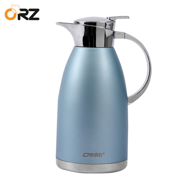US $35 53 34% OFF|ORZ 304 Stainless Steel 2L Thermos Flask Frosted Blue Hot  Cold Coffee Mugs Beverage Insulated Vacuum Kettle Thermos Bottle-in Vacuum