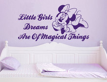 Wall Decals Quotes Minnie Mouse Little Girls Dreams Are Of Magical Things Vinyl Sticker Nursery Bedroom Decor K531