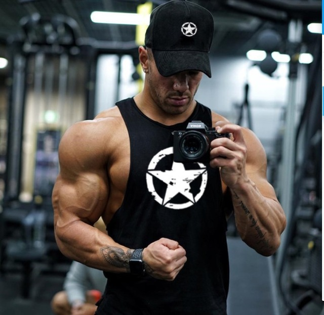 2018 New fashion cotton sleeveless shirts   tank     top   men Fitness shirt mens singlet Bodybuilding workout gym vest fitness men