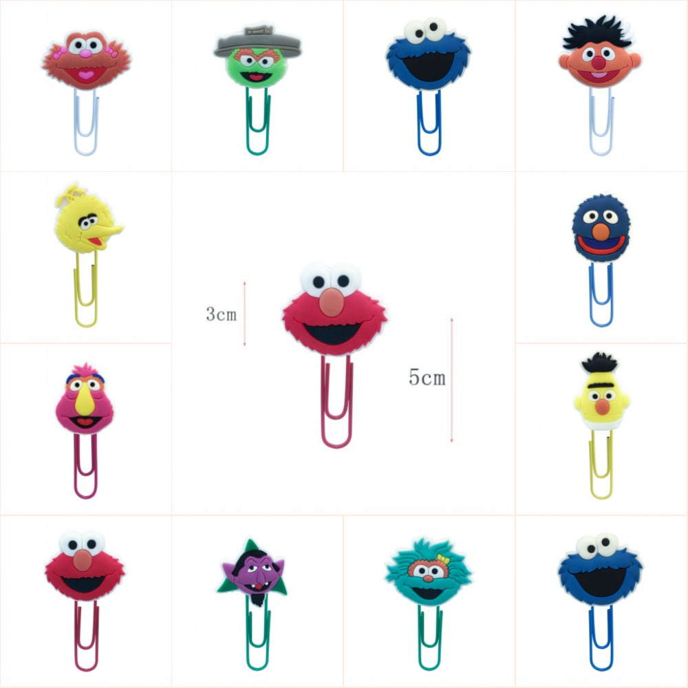 1pcs Kawaii Sesame Street PVC Bookmarks For Books Cute Cartoon PVC DIY Craft Paper Clips School Office Stationery Kid Gifts