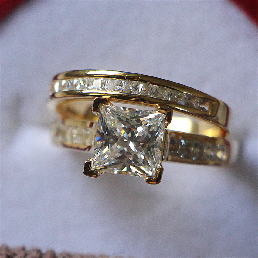 2 55Ct Princess Cut Synthetic Diamonds Set Rings Wedding band 925 Sterling Silver Ring Yellow Gold