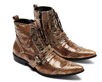 Punk Style Mens Military Cowboy Boots Lace Strap Genuine leather Ankle Short Martin Boots
