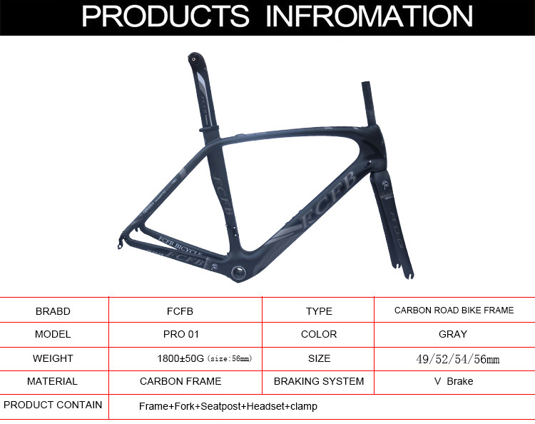 HTB1fupDRXXXXXXIaFXXq6xXFXXXB - 2017 new FCFB carbon road frame bike road carbon frame 49/52/54/56cm matt BSA bicicleta road bike frame with carbon handlebar