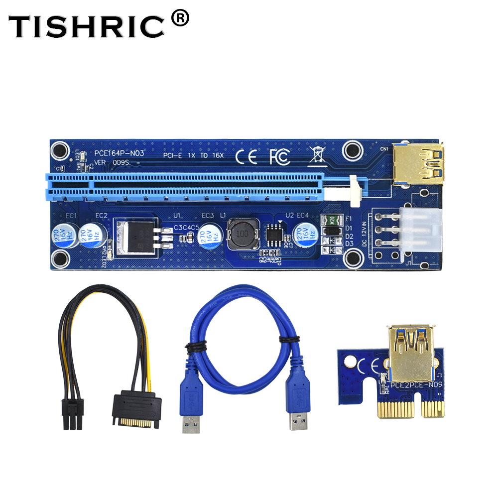 Computer Cables & Connectors Chipal 2018 Golden Ver009s Pci-e Riser Card Pcie Pci Express Molex 6pin To Sata 1x 16x 60cm Usb 3.0 Extender With Led Indicator