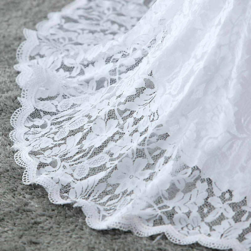E JUE SHUNG белые кружева Русалка Boho свадебный наряд 2018 на бретельках Летний Пляжный с открытой спиной Свадебные платья