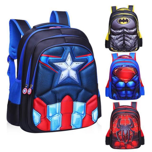 Childrens Backpack Boys Captain America School Bags For Boys Girls Children Primary Students Superhero Backpacks 4 Styles