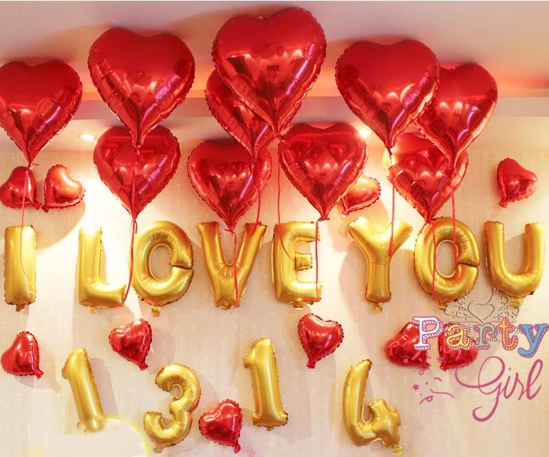 32pcs lot quot i love youquot gold letter helium foil balloons for I love you letter balloons