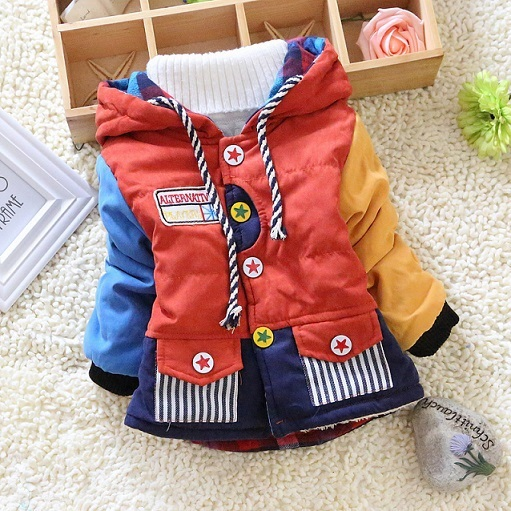 Hot sale 2014 new children clothing patchwork boys cool winter warm jacket kids girls outwear coats sweaters boys Down & Parkas