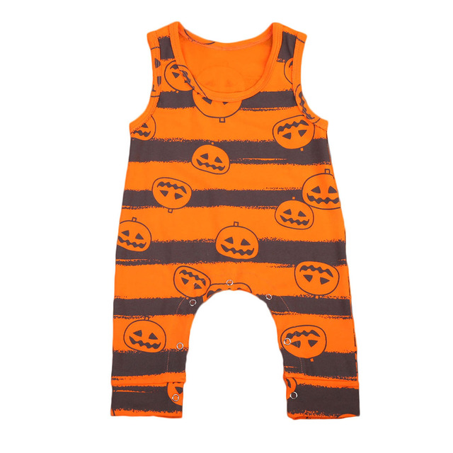 new pumpkin printing babies halloween romper infant baby boy girls cotton sleeveless rompers playsuit outfits 0