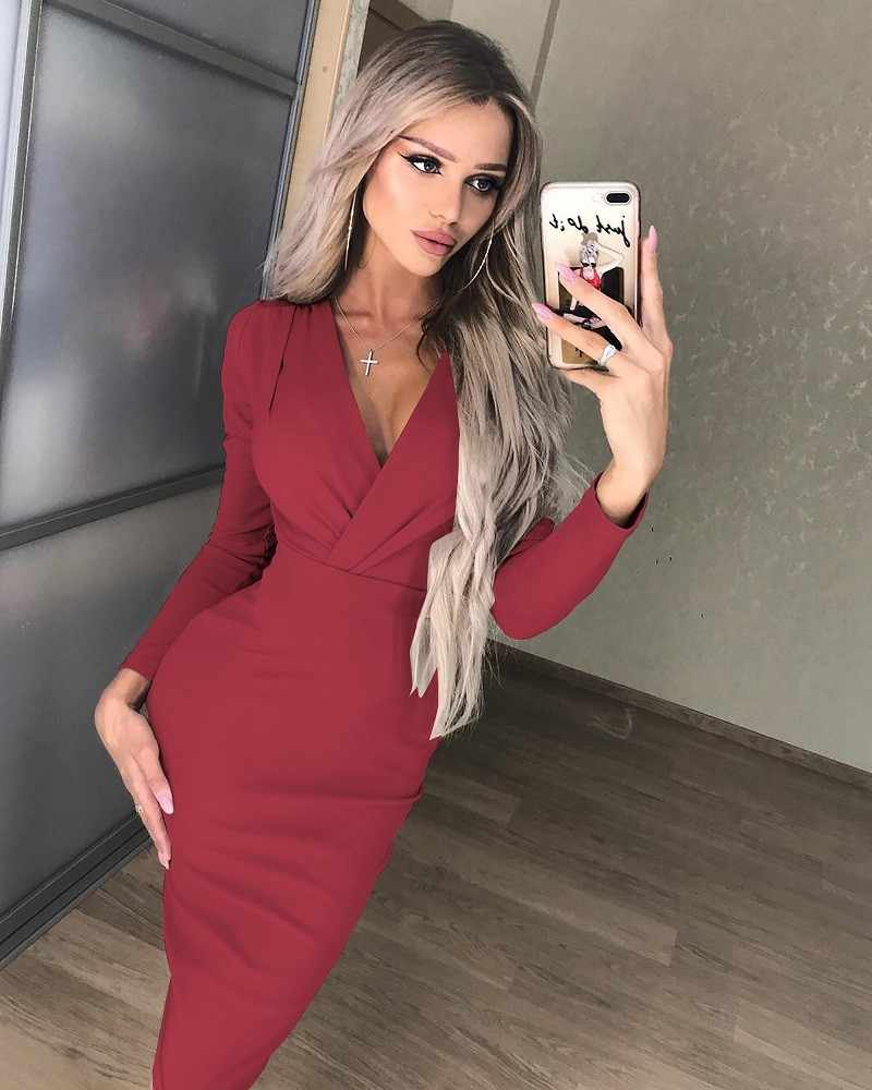 b1098b82e3e ... Весеннее сексуальное Глубокий v-образный вырез красное черное платье с  запахом 2019 с длинным рукавом ...