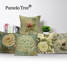 Planta decoración de granja cojín almohada vintage funda de almohada decorativa Dropship funda de cojín cojines con diseño de flores y pájaros decoración del hogar