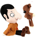 2PCS Mr. Bean 40cm & His Teddy Bear 28CM Set Plush Toy Soft Stuffed Kids Toys Dolls For Children Gift
