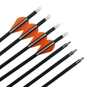 Image 4 - 6/12pcs קשתות הטהור פחמן חץ עמוד השדרה 400 ID6.2mm להחליף ראש חץ גומי נוצת מתחם Recurve ציד אבזרים