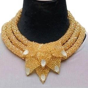 Наборы ювелирных изделий для женщин, роскошные золотые наборы ювелирных изделий из Дубаи, 3-слойное ожерелье с листочками в нигерийском сти...