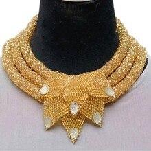 فاخر الذهب دبي مجموعات مجوهرات الزفاف تصميم 3 طبقات قلادة مع يترك النيجيري مجموعات مجوهرات للنساء شحن مجاني 2018