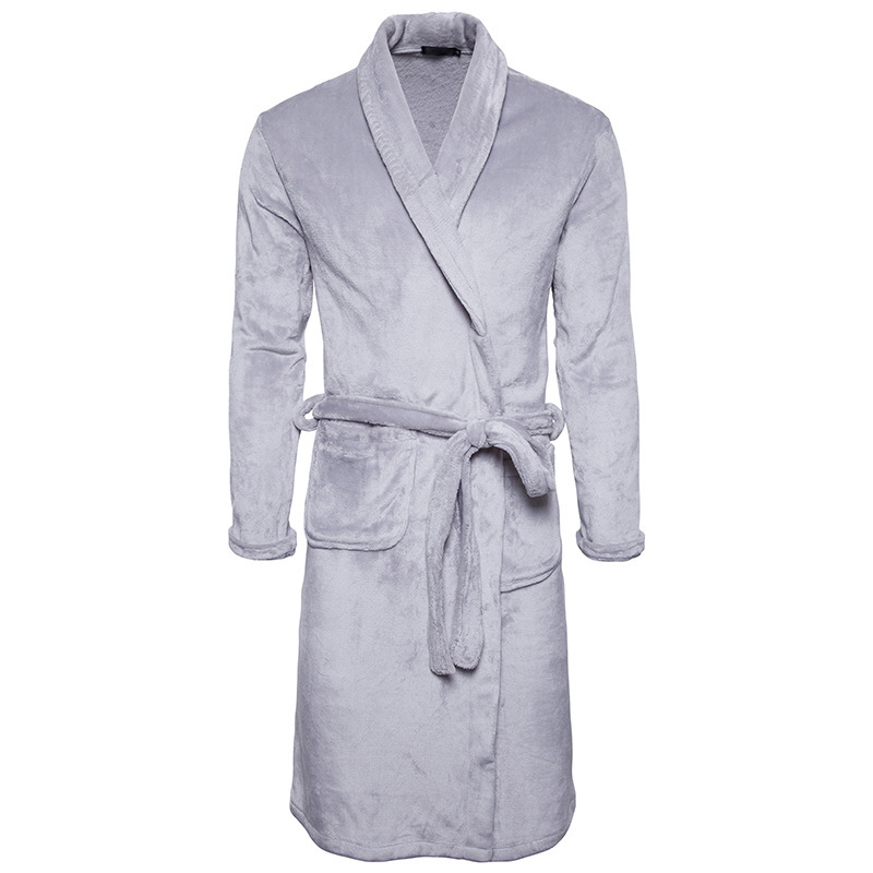 Mens Thickening Home Wear Warmth Long Flannel Pajamas Winter Robe Sexy Bathrobe for Adults Casual Fashion Trendsetter ...
