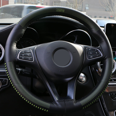 Steering Wheel Cover Universal 38 cm/Artificial Leather Braid for Steering-wheel DIY Thread, Needle Stitch on(3D embossing) Karachi