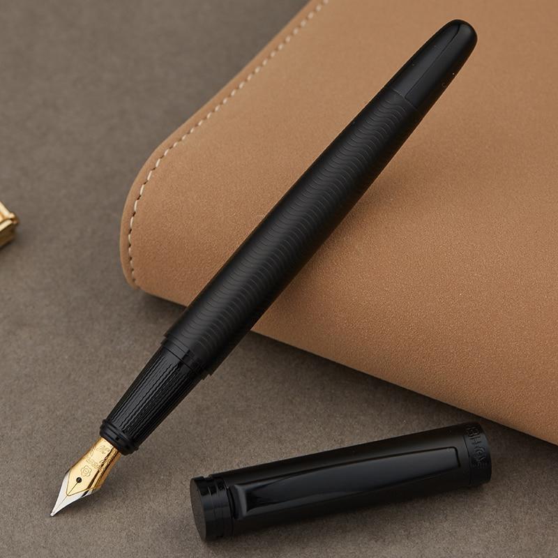 Full Metal Opaco filo nero del corpo Iraurita penna stilografica 0.5mm penne a inchiostro di Affari Ufficio caneta tinteiro Contenitore di Regalo Della Cancelleria 1037