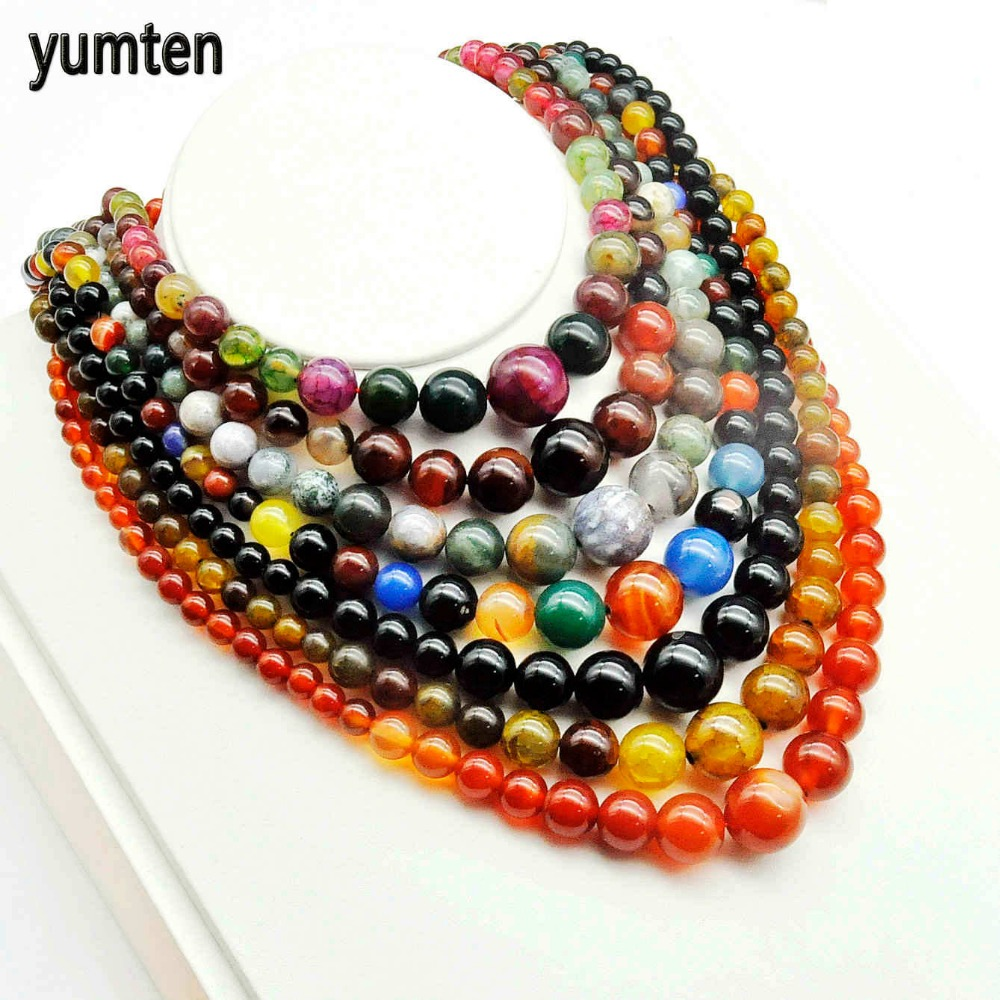 Yumten Natural Agate Necklace Beads Jewelry Women Tower Chain Chokers Chains Torques Power Stone Black Green