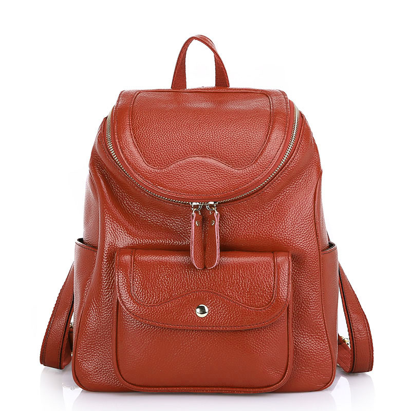 Zency Fashion Women Backpack 100% Genuine Leather Female Travel Bag Preppy Style Schoolbag For Girls Lady Large Knapsack Laptop